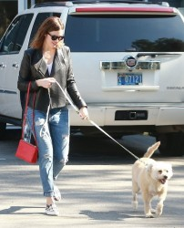 Mandy Moore - takes her dog to the vet in Los Feliz 2/14/14