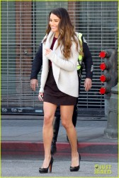 Lea Michele - Arriving to the set of 'Glee' in LA 2/21/14