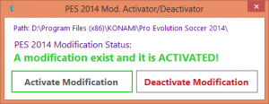 Download PES 2014 MOD Activator/Deactivator by Tegar Essentials