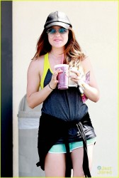 Lucy Hale - Picking up a drink after a work out in Studio City 4/10/14