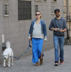 Olivia Wilde walking her dog with fiance Jason Sudeikis in New York City, April 12, 2014