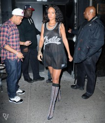 Rihanna - Wearing a Sheer Jersey leaving Venue Nightclub in NYC 5/3/14