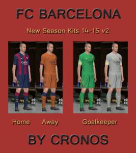 Download PES 2014 FC Barcelona 14-15 Kits v2 by Cronos