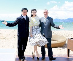 Fan Bingbing on a very windy day in a skirt attends the 'Emperor' press junket @ Cannes 2013 5/17/13