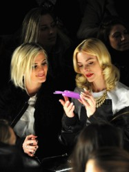 Jaime King and Ashlee Simpson attend the Rebecca Minkoff Fall 2013 fashion show during Mercedes-Benz Fashion at The Theatre at Lincoln Center 2/8/13