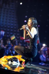 Lena Meyer-Landrut upskirt in pantyhose at the Eurovision Song Contest 2010