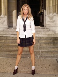 Blake Lively, Leighton Meester and Taylor Momsen in schoolgirl uniforms from Gossip Girl