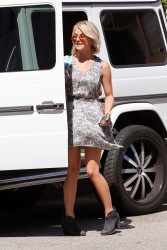 Julianne Hough windy in a dress outside the Tracey Anderson gym in Studio City 8/21/13