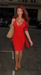 Amy Childs in tight red dress showing nice cleavage and butt leaving Nobu Berkeley restaurant 5/11/11