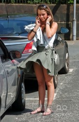 Brooke Vincent almost upskirt at Corrie Studios 8/9/09