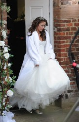 Brooke Vincent & Sacha Parkinson clevage in wedding dresses while filming scenes for Coronation Street 08/11/11