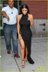 Kim Kardashian - Wearing a Sexy Slit Dress in NYC 6/26/14