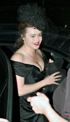 Helena Bonham Carter nice cleavage and upskirt in pantyhose at the Jameson Empire Magazine Awards and the afterparty at Embassy Night Club 3/29/09