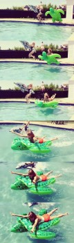 Taylor Swift - jumping into a swimming pool with Jaime King 7/3/14, LQ Instagram video caps