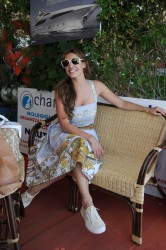 Kelly Brook looking sexy and later windswept on a boat at the 9th Ischia Global Film and Music Festival in Italy 7/13/11