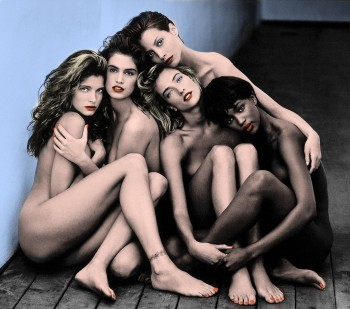 Stephanie Seymour, Cindy Crawford, Christy Turlington, Tatjana Patitz, Naomi Campbell - Nude but covered - Colored by me - x 1