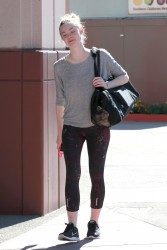 Elle Fanning - Heading to Dance Class in Tight Spandex 7/24/14