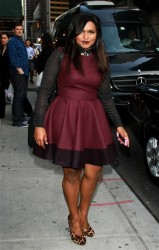 Mindy Kaling nice legs arriving at The Late Show with David Letterman at the Ed Sullivan Theatre 9/17/12