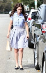 Zooey Deschanel - Leaving a hair salon in Beverly Hills 7/30/14