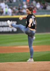 McKayla Maroney Throwing Out The First Pitch at the White Sox Game in Chicago on August 1, 2014