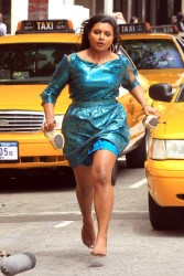 Mindy Kaling running in heels and then barefoot in a ripped dress filming scenes for The Mindy Project in downtown Los Angeles 4/3/12 (7 new adds)