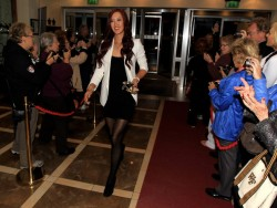 Michelle Wie leggy in pantyhose at the Gala Dinner prior to the 2011 Solheim Cup at the Burlington Hotel 9/21/11