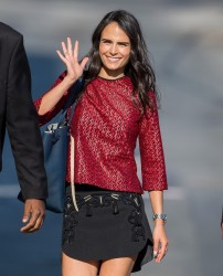 Jordana Brewster leggy, heads to Jimmy Kimmel Live! in Hollywood 08-07-2014 (not HQ)
