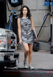 Emmy Rossum on the set of Shameless in Los Angeles - August 9, 2014
