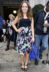 Tanya Burr looking cute at the London Fashion Week Autumn/Winter 2014 2/14/14