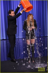 Lindsay Lohan - ALS Ice Bucket Challenge on the Tonight Show in NYC 8/20/14