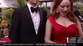 CHRISTINA HENDRICKS - enormous CLEAVAGE  - Emmys Red Carpet 2014