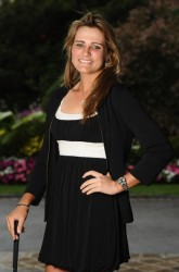 Lexi Thompson poses for pictures at the gala dinner after the third round of the Evian Masters at the Evian Masters golf club 7/22/11