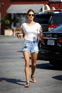 Alessandra Ambrosio gets her morning coffee August 24,