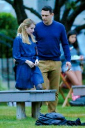 Emma Roberts on the set of a movie in Long Island 08-30-2014