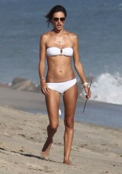 Alessandra Ambrosio in a white bikini in Malibu – August 23, 2014 – 11