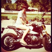 Catherine Bell on her new bike twitpic