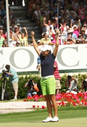 Lorena Ochoa winning and getting wet at the 2008 Kraft Nabisco Championship 5/6/08