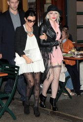 Kourtney Kardashian leaves dinner at BarPitti with a friend and later going back to the  Gansevoort Hotel 10/1/11