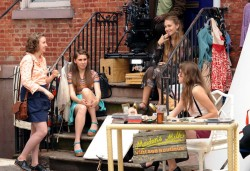 Allison Williams, Jemima Kirke, Zosia Mamet and Lena Dunham film a scene for 'Girls' in Soho in lower Manhattan 5/25/12