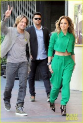 Jennifer Lopez - Arriving on the set of 'American Idol' in Hollywood 10/28/14
