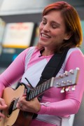 Amy Jo Johnson performs in her Pink Power Ranger suit out in Toronto 11/07/14