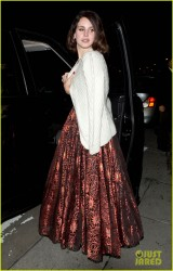 Lana Del Rey looking stunning in a ball gown at the Vignette bar in West Hollywood 2/9/13