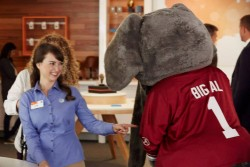 Milana Vayntrub With College Football Mascots on the set of an AT&T Commercial in Los Angeles - September 2014