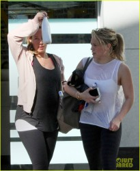Hilary & Haylie Duff - Leaving spin class in LA 12/28/14