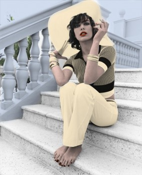 Milla Jovovich - Cute colored picture - x 1