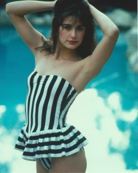 Demi Moore: Striped One Piece - Early 80's OUI Shoot - HQ x 1