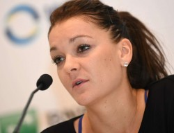 Agnieszka Radwanska press conference at the WTA Finals, October 2014 x6